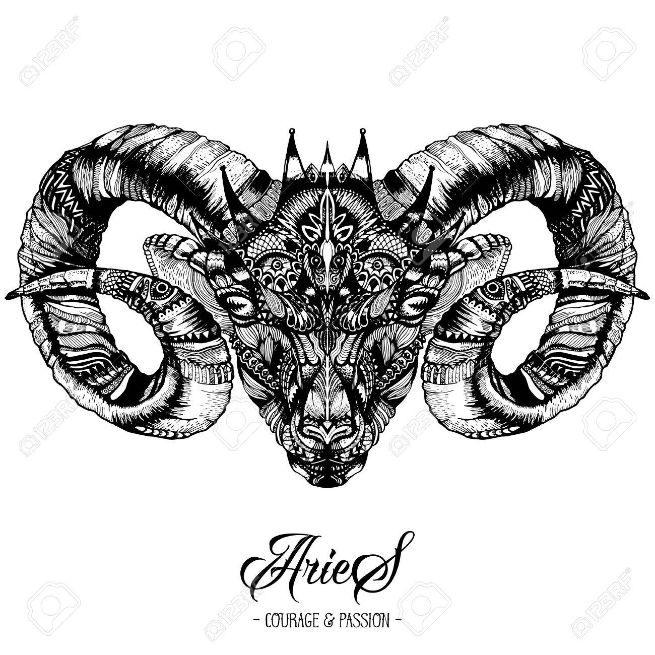Zodiacal Aries Ink Drawing Isolated on White. Ram Head in Zentangle Style. Zodiac Sigh made of Ethnic Doodle Pattern. Trendy Tattoo Design. Hipster T-Shirt Print. Stock Vector - 74140827