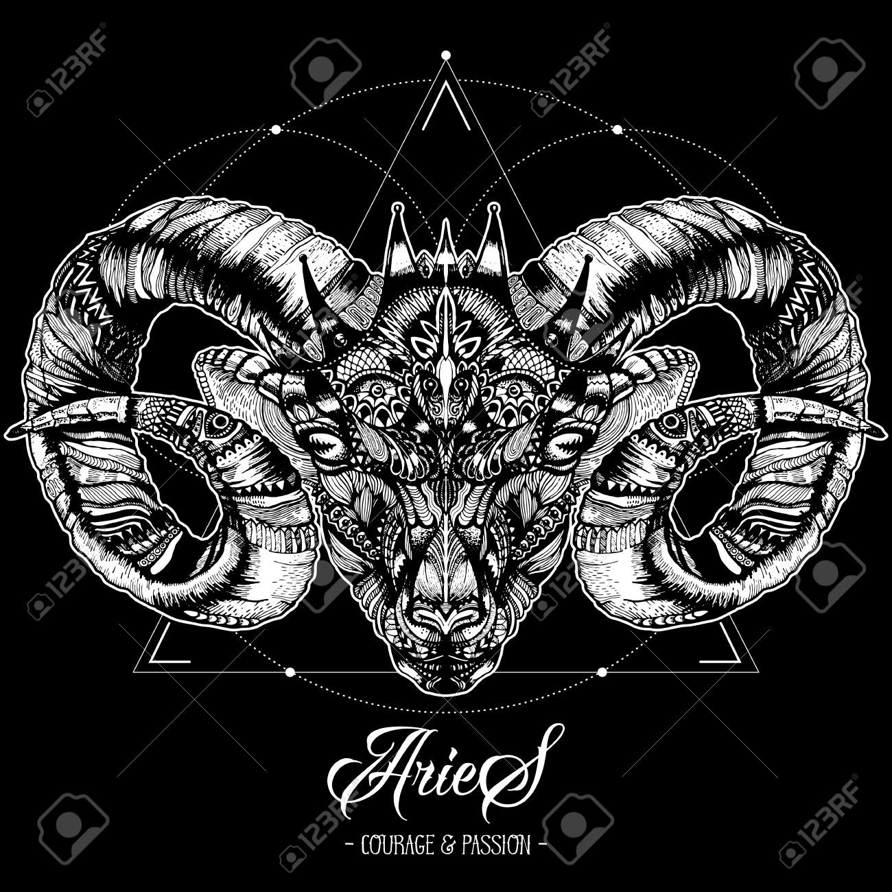 Zodiacal Aries And Sacred Geometry Ink Drawing Isolated On Black