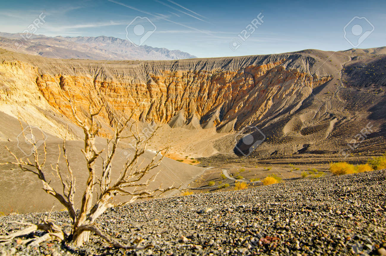 Low angle view down the side of the Ubehebe Crater of Death Valley, California. Stock Photo - 11505885
