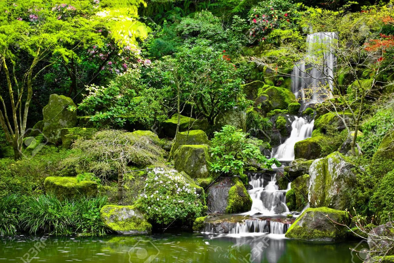 Kleiner Wasserfall In Einem Japanischen Garten In Einen Koi-Teich ...