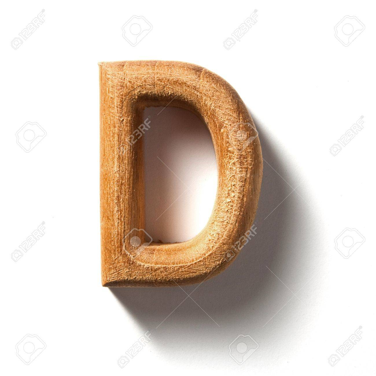 D background images - Stock Photo Wooden Alphabet Letter With Drop Shadow On White Background D