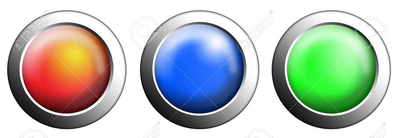 Three buttons start red, blue and green push press on white isolated Stock Photo - 10905742