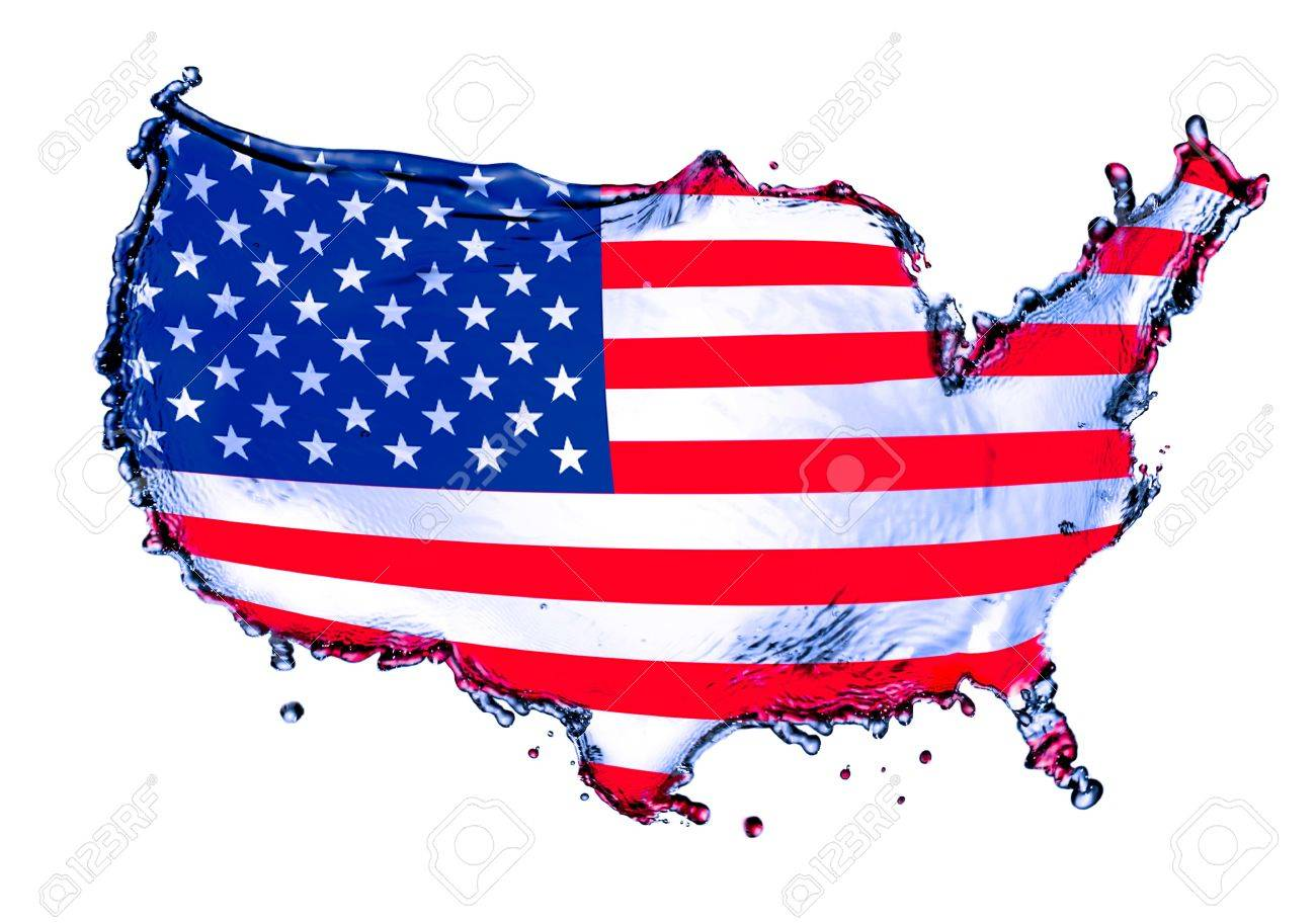 Blue Water Splash In Concept Usa Map Mixed With Flag Isolated On White Background Stock Po