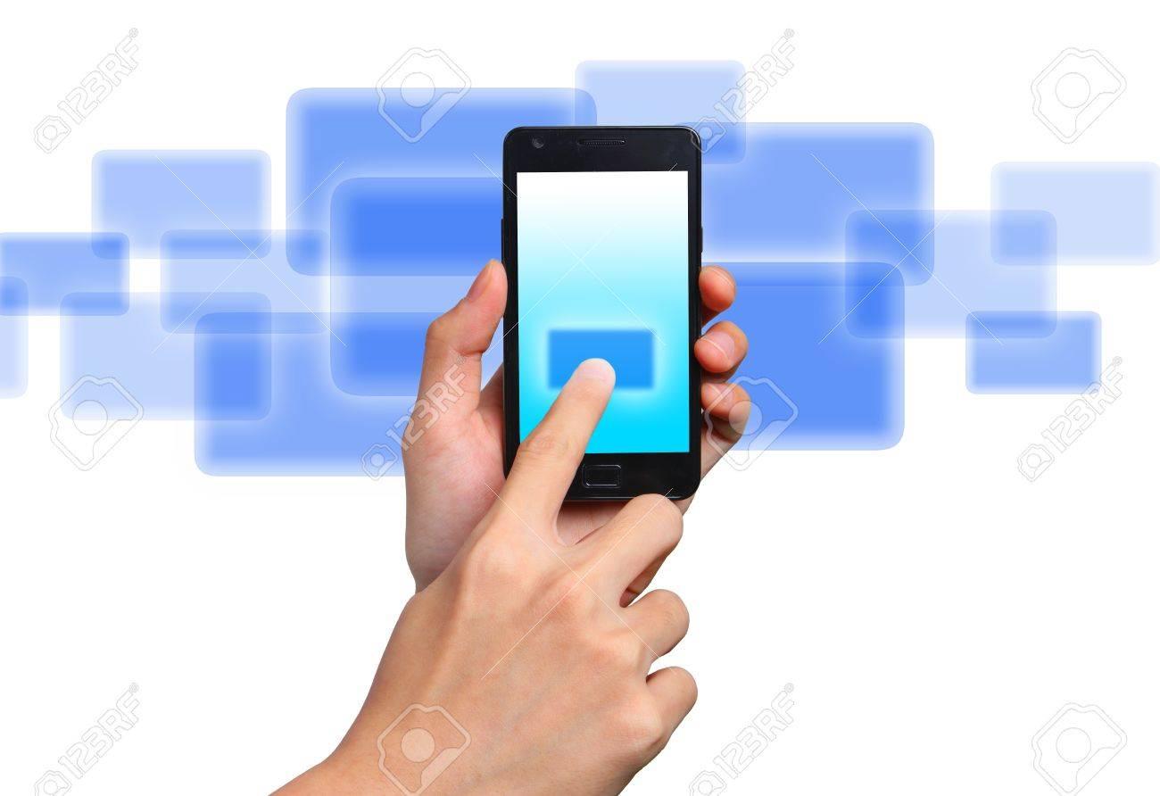 Businessman send massage on mobile phone Stock Photo - 12929287