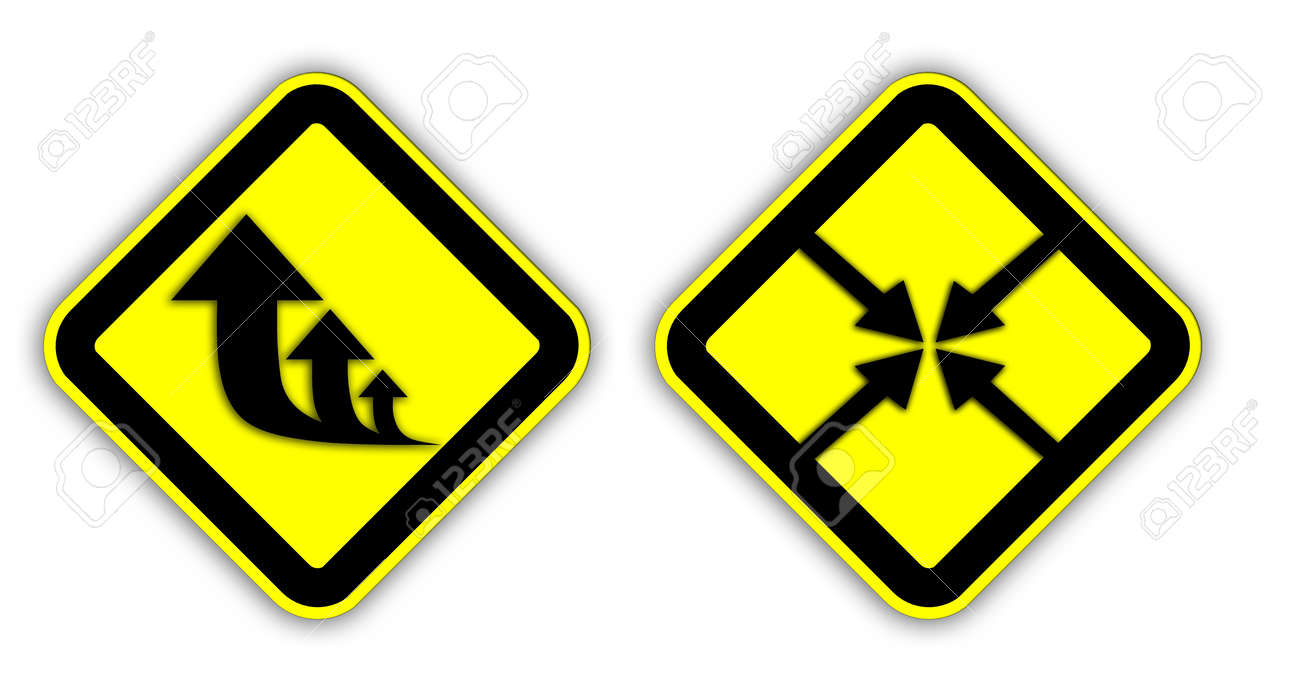 Yellow Traffic signs isolated on white background Stock Photo - 13404031