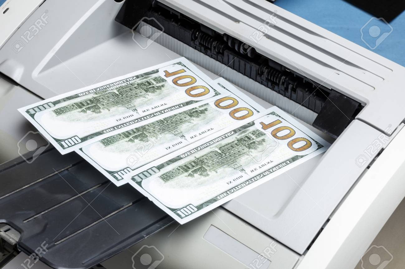 printed dollars  home printer  concept crime fake money