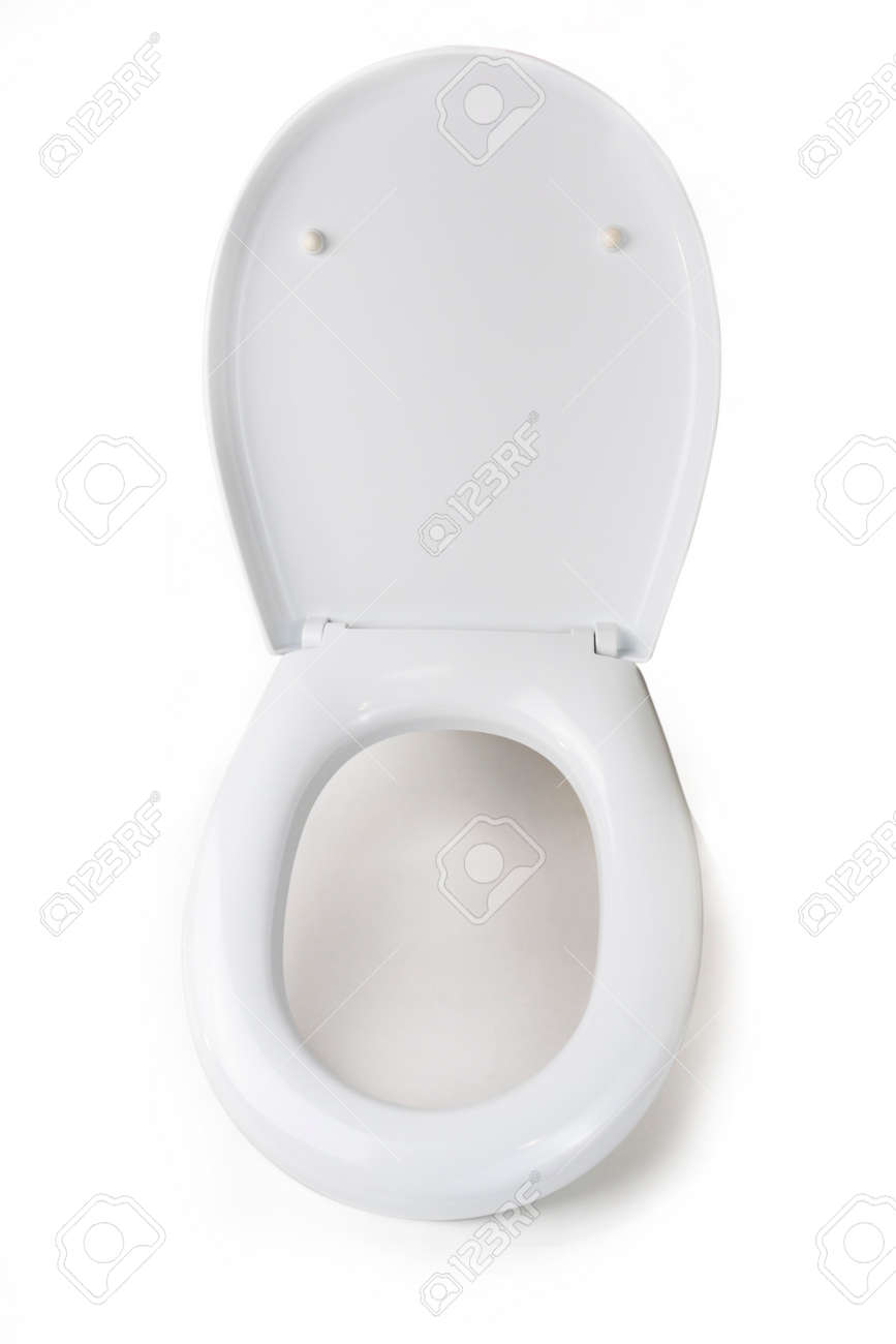 on a white background, a toilet lid. close-up. isolation - 136841945