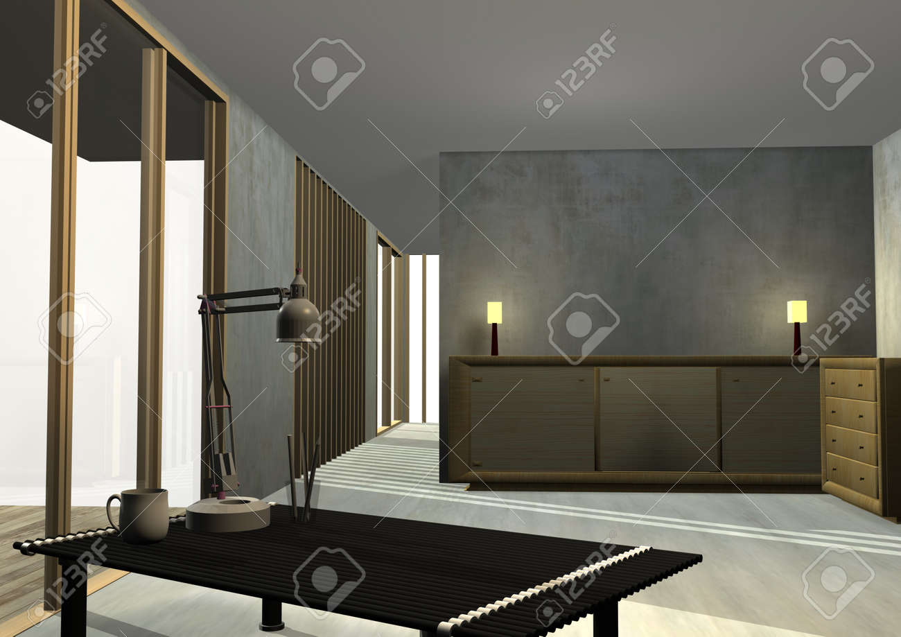 Tropical Housing Interior Rendered Stock Photo - 11869554