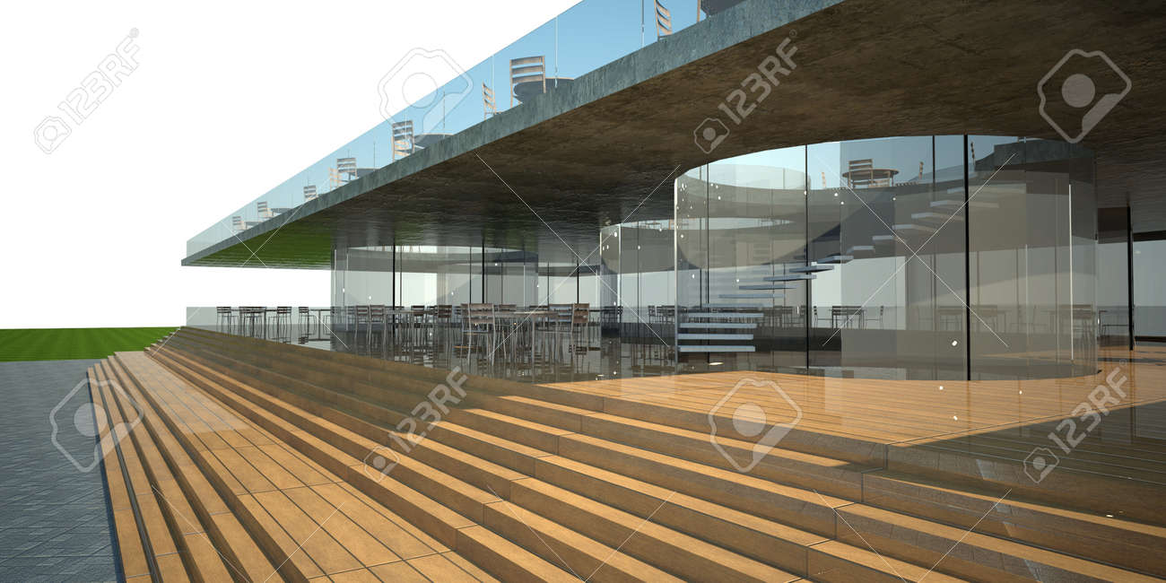 3d Rendering Of Modern Building Luxury Restaurant Exterior Stock Photo Picture And Royalty Free Image Image 12868450