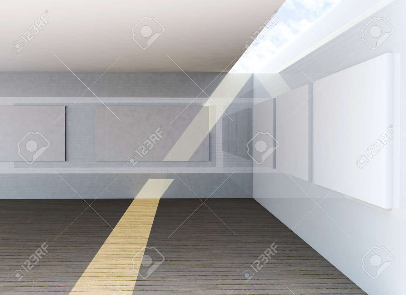 Futuristic Architecture, abstract gallery interior Stock Photo - 15058383