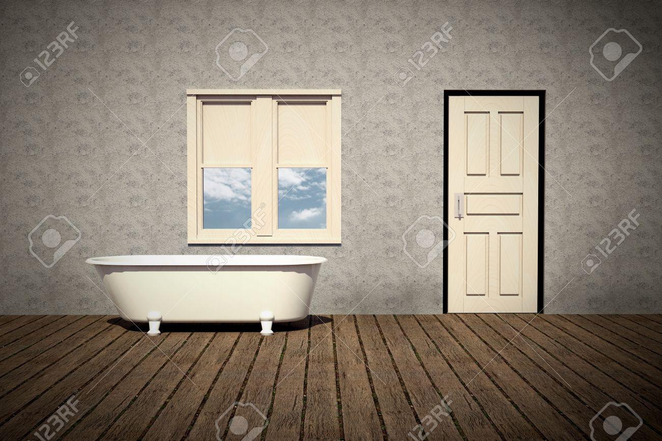 Old Style Bathtub In A Retro Bathroom With Plank Wood Floor Stock ...