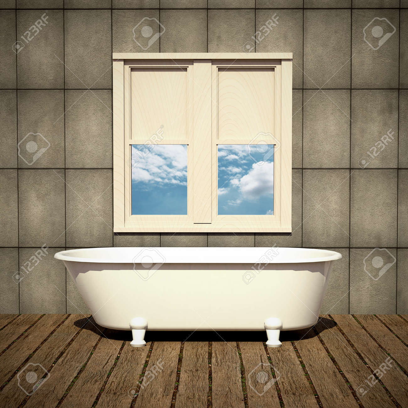 Minimalist Bathtub In A Retro Bathroom With Plank Wood Floor Stock ...