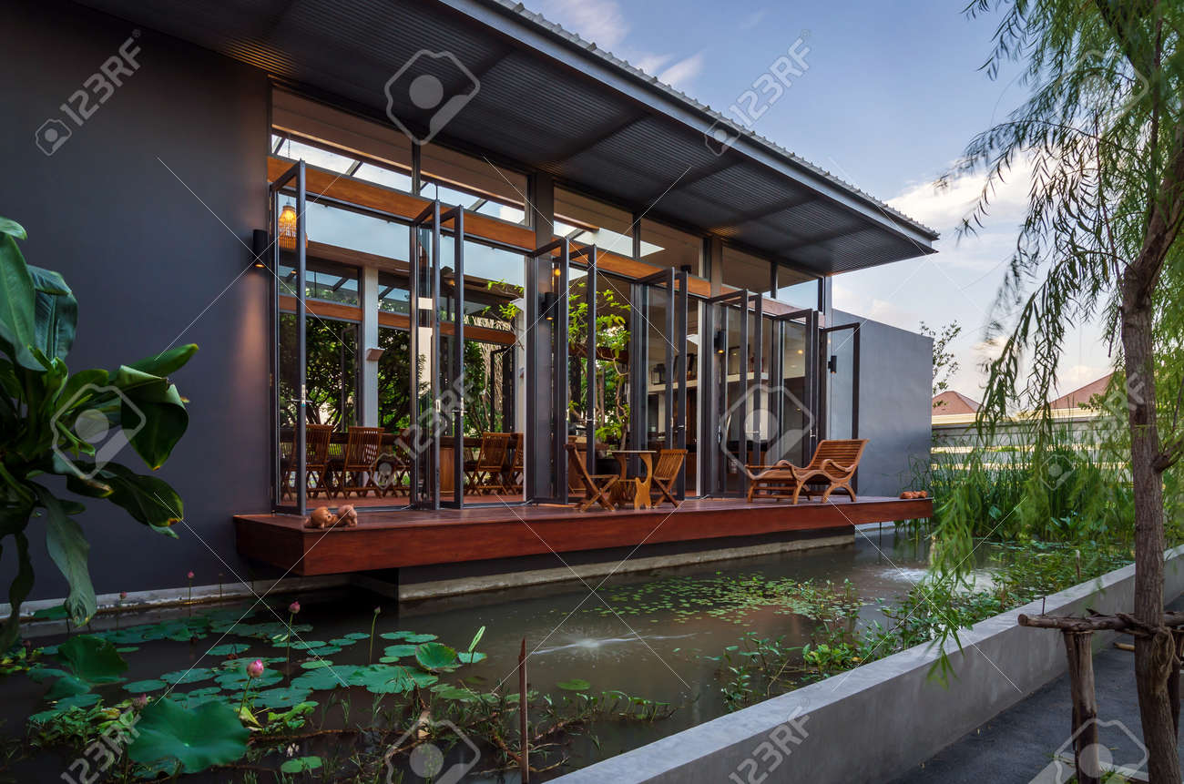 Tropical modern house with nature twilight time stock photo 30778069