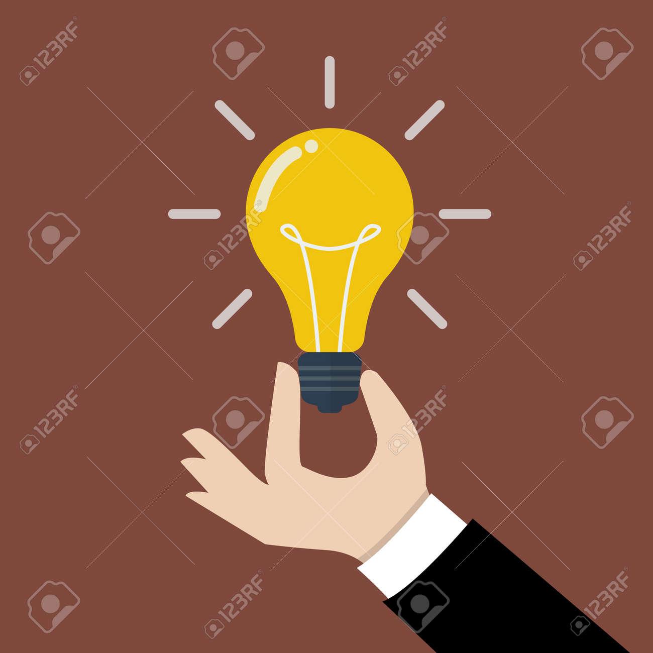 Hand holding light bulb. Business idea concept. - 43296357