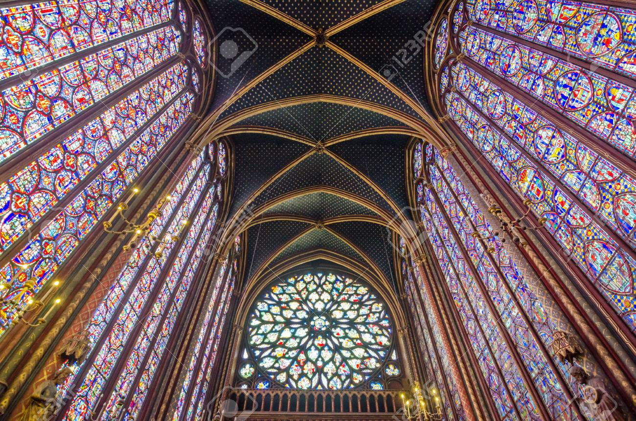 Interior Of The Sainte Chapelle In Paris France Stock Photo