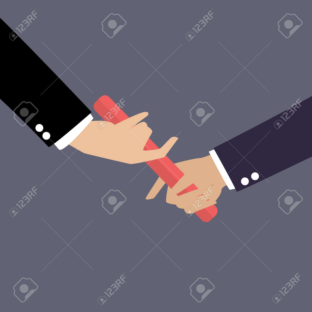 Businessman hand passing the baton in a relay race. Partnership or teamwork concept - 44328917