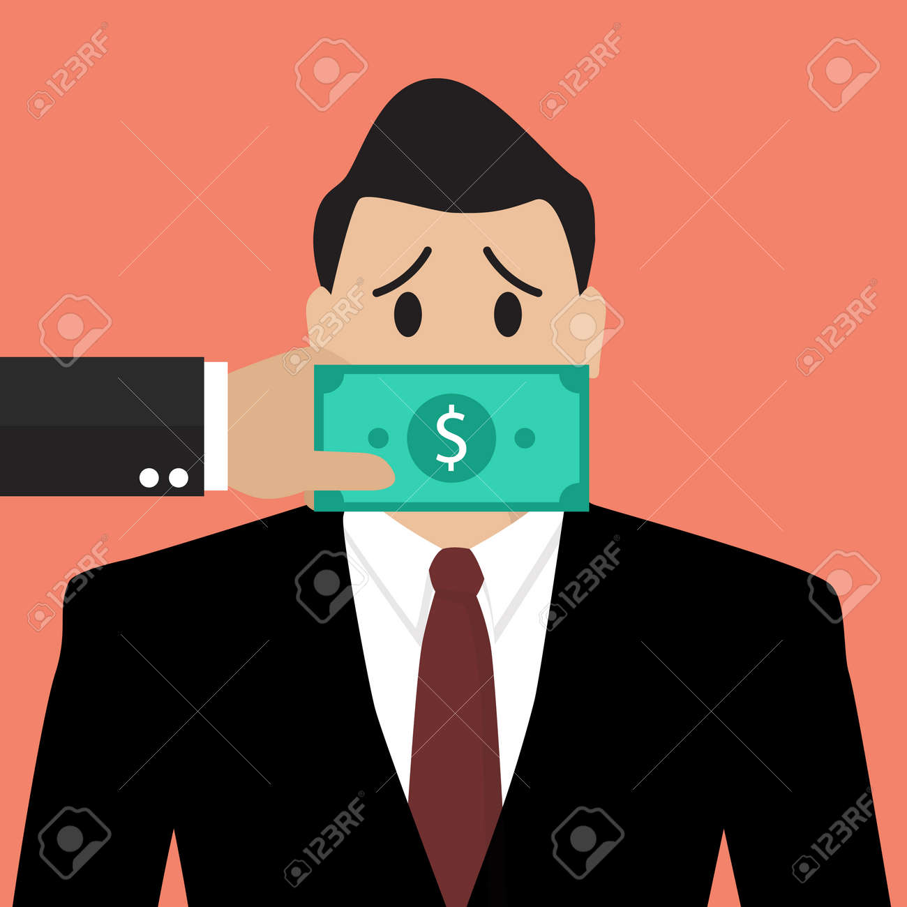 Businessman with dollar banknote taped to mouth. Bribery concept - 44979248