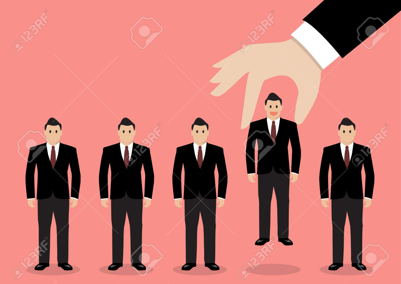 Hand choosing worker from group of businessmen. Recruitment concept - 44979253