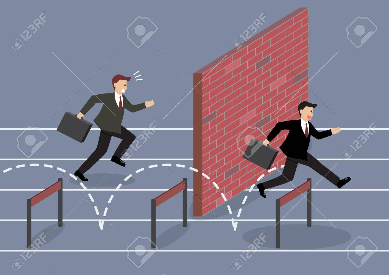 Businessman jumping over hurdle competition. Business concept - 45244813