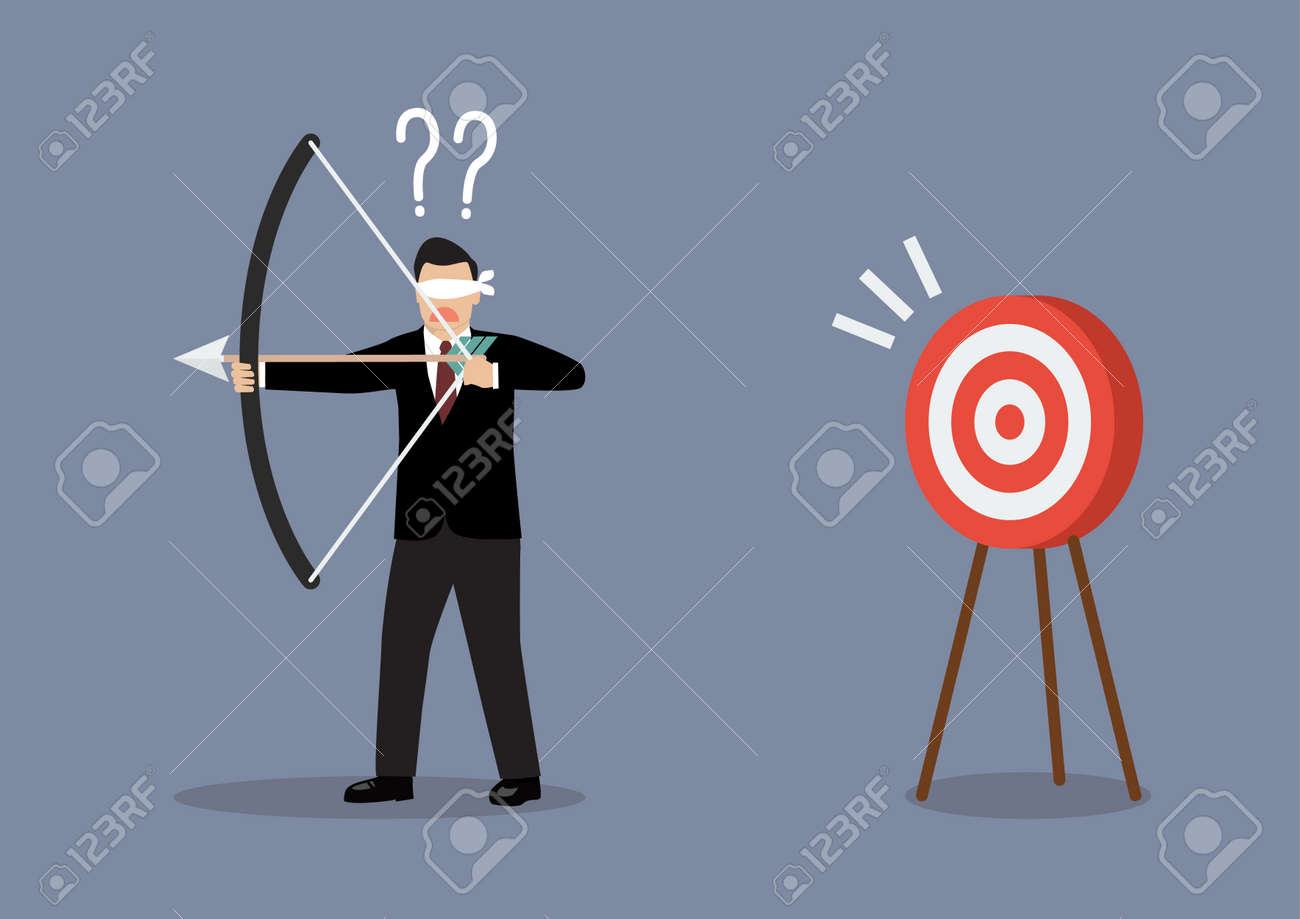 Blindfold businessman look for target in wrong direction. Business concept - 45935608