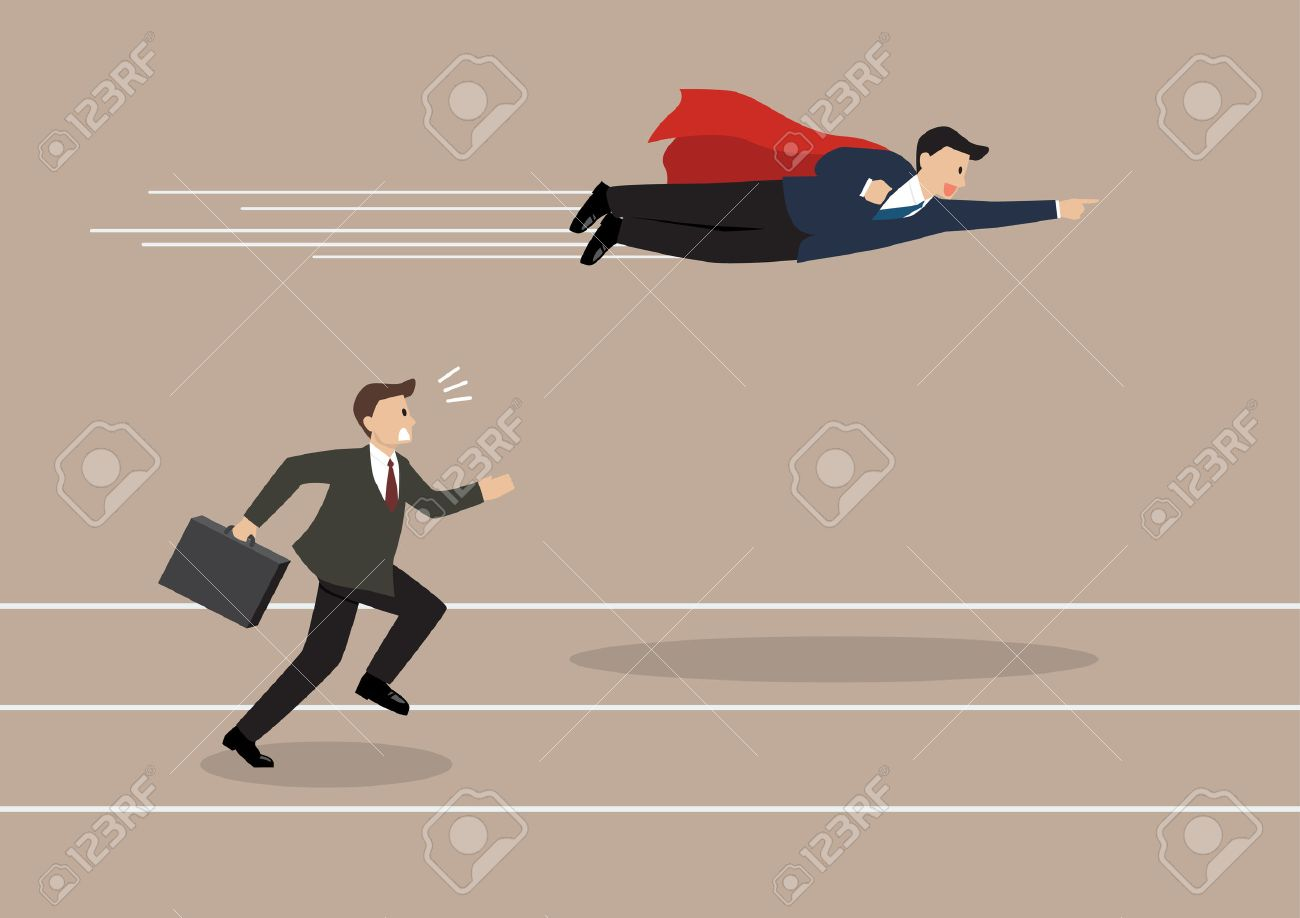 Businessman superhero fly pass his competitor. Business competition concept - 45935690