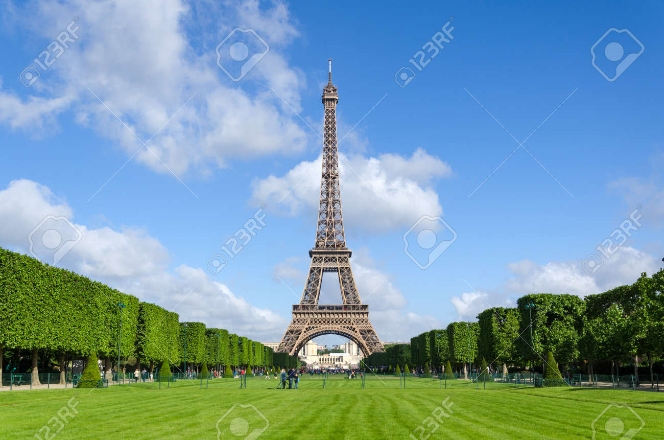 Eiffel Tower with blue sky in Paris, France. - 47162083