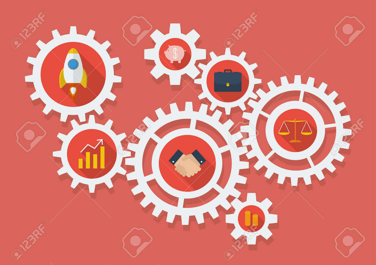 Business Icons in Gears. Vector Illustration - 47423014