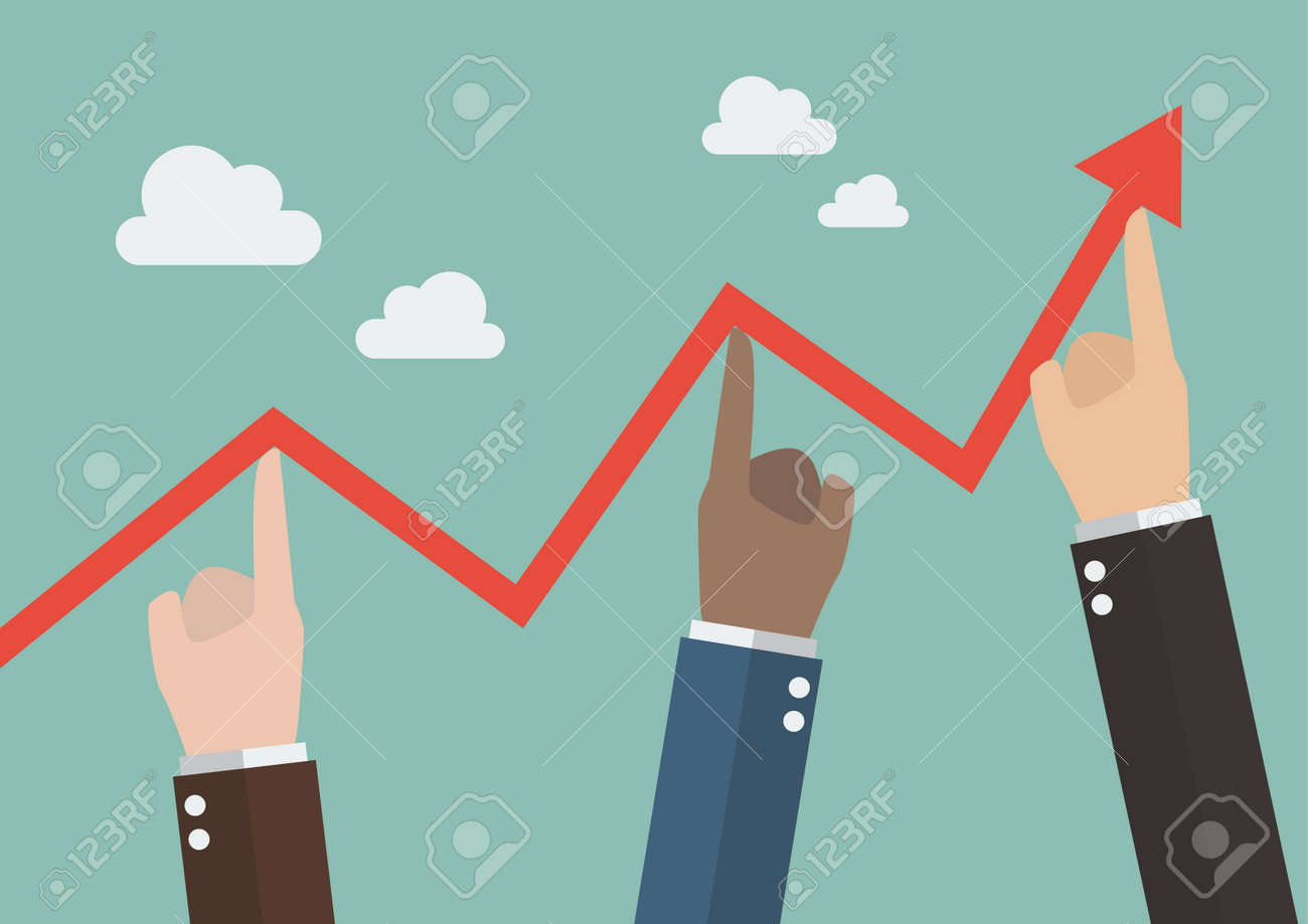 Hands pushing graph up. Business concept - 49482314