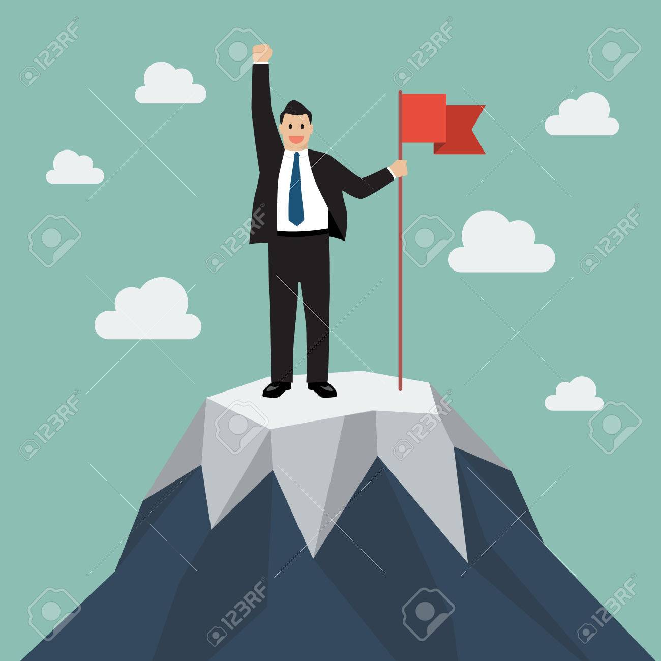 Businessman with flag on a Mountain peak. Business success concept - 49819254