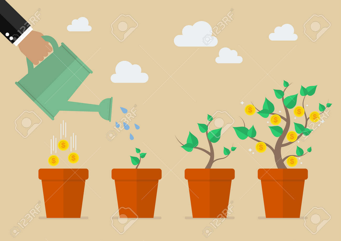 Hand with can watering money tree. Financial growth concept. - 50503155