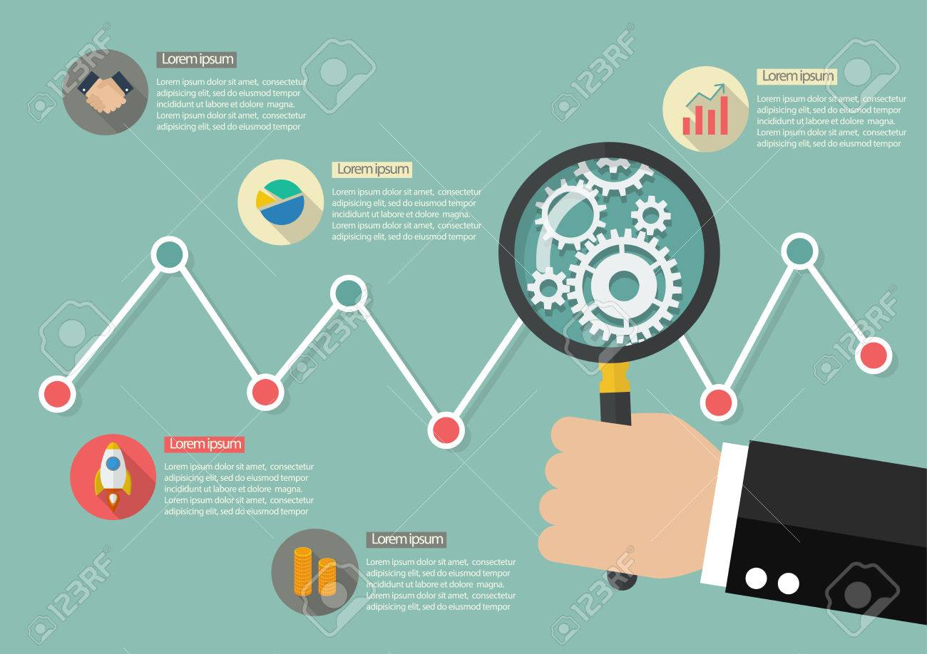 Hand Holding Magnifying Glass With Market Graph Infographic – Stock Market Analysis