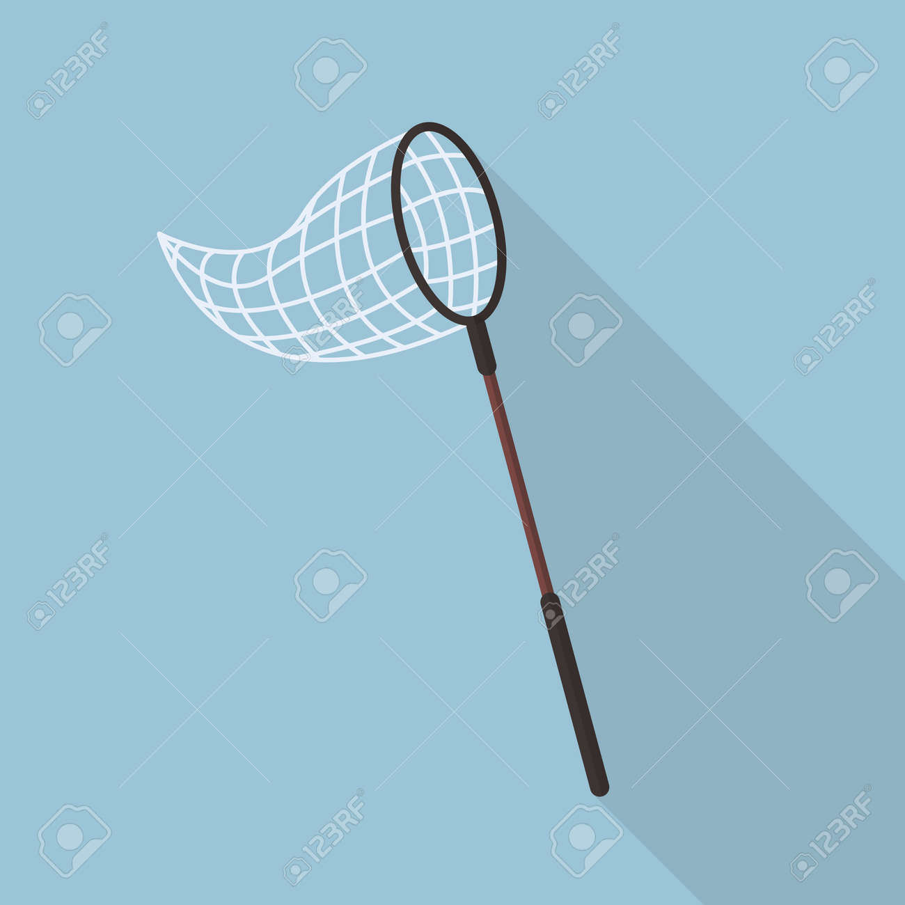 Butterfly net flat icon with long shadow - 51374901