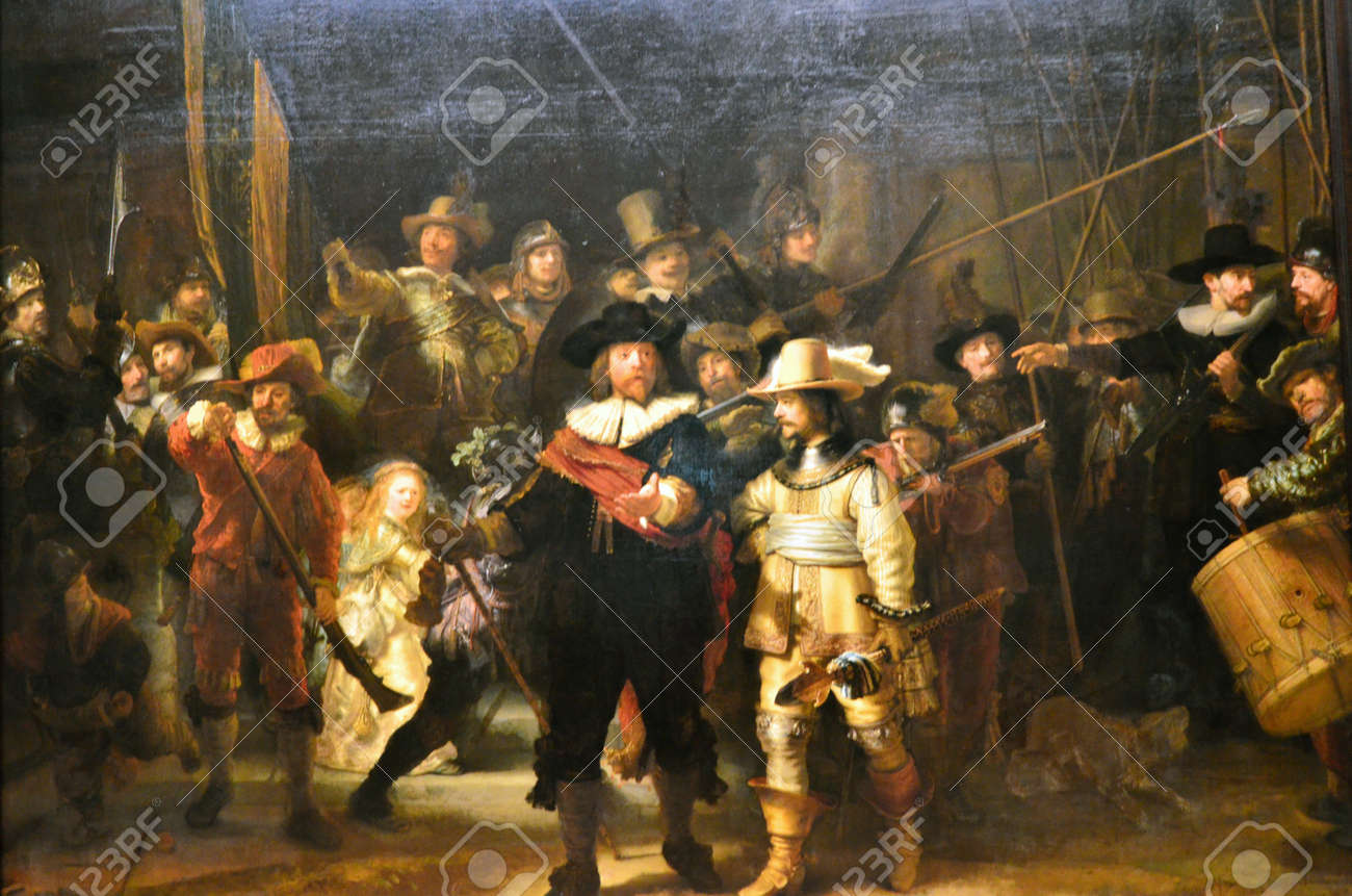 """Amsterdam, Netherlands - May 6, 2015: The painting """"Night watch"""" at Rijksmuseum, Amsterdam, Netherlands. The Night Watch is one of the most famous Dutch Golden Age paintings and is window 16 in the Canon of Amsterdam. - 55554267"""
