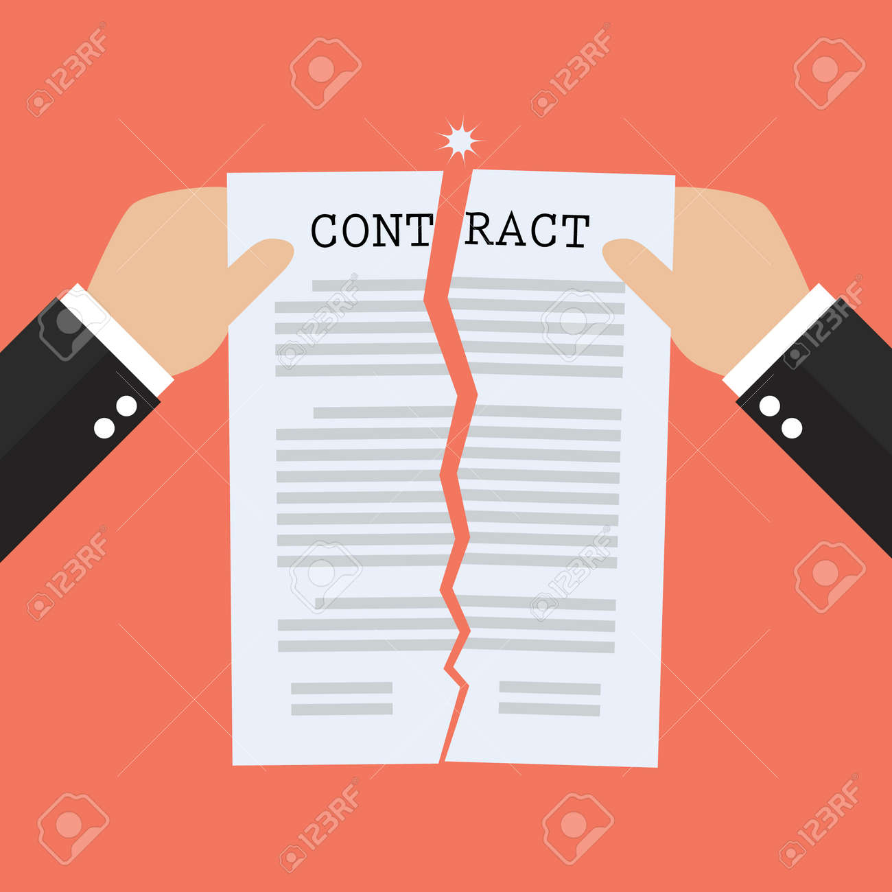 Hands tearing apart contract document paper. agreement cancellation - 53411833