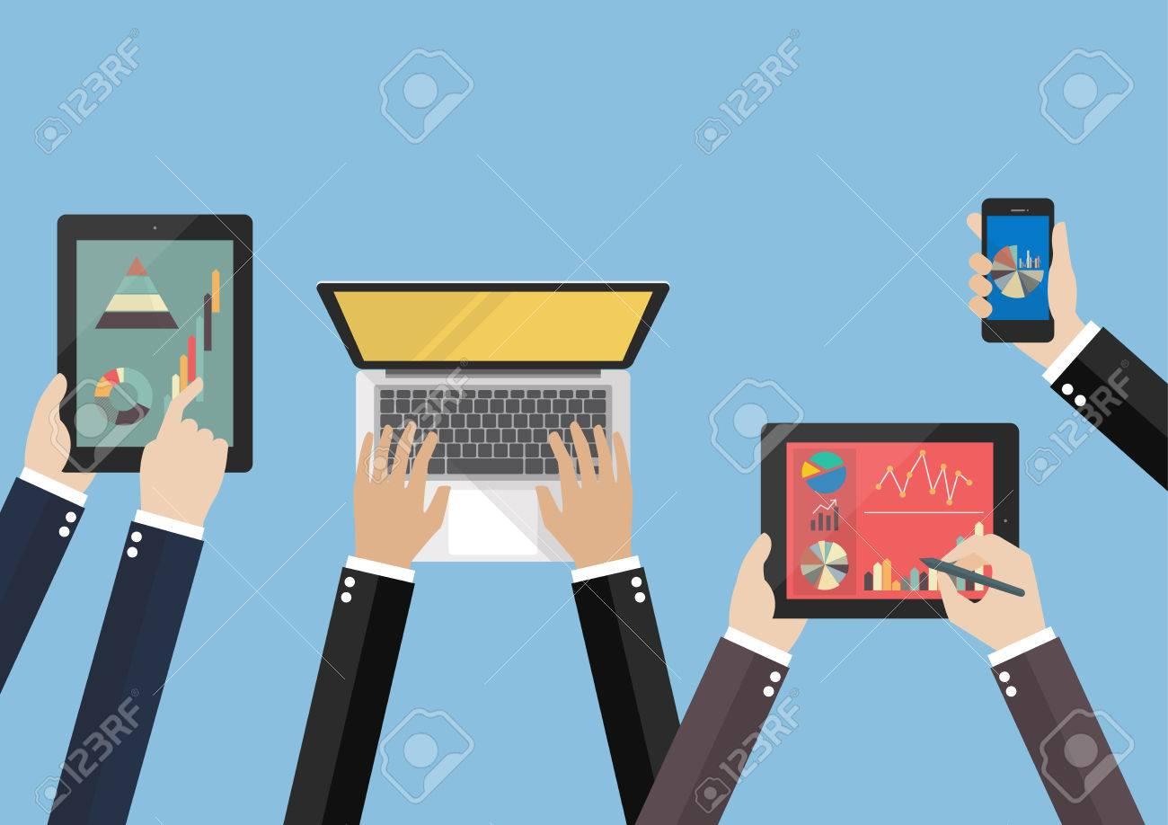 Hands hold device electronics gadget. laptop phone tablet flat vector illustration - 54191508
