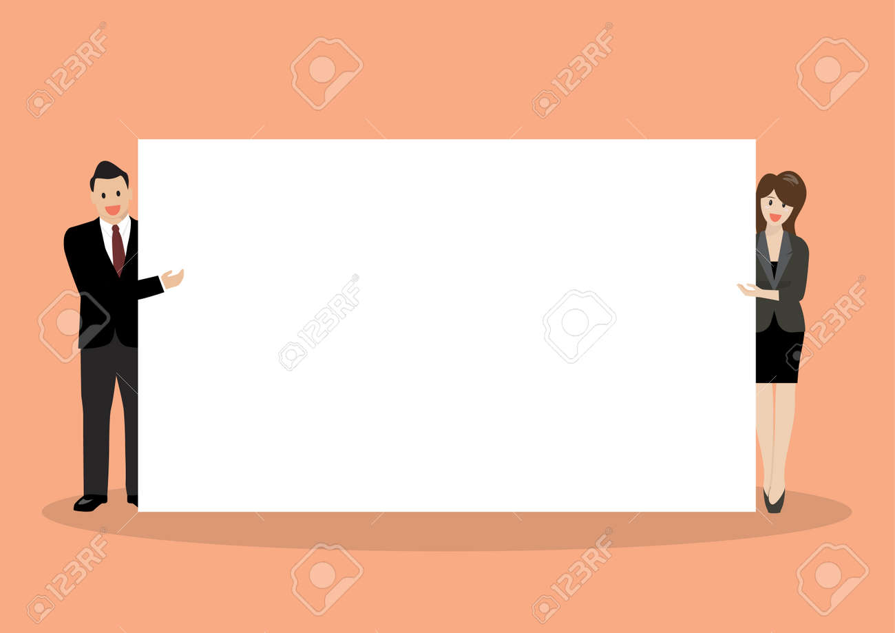 Businessman and woman pointing to the billboard. vector illustration - 55571446