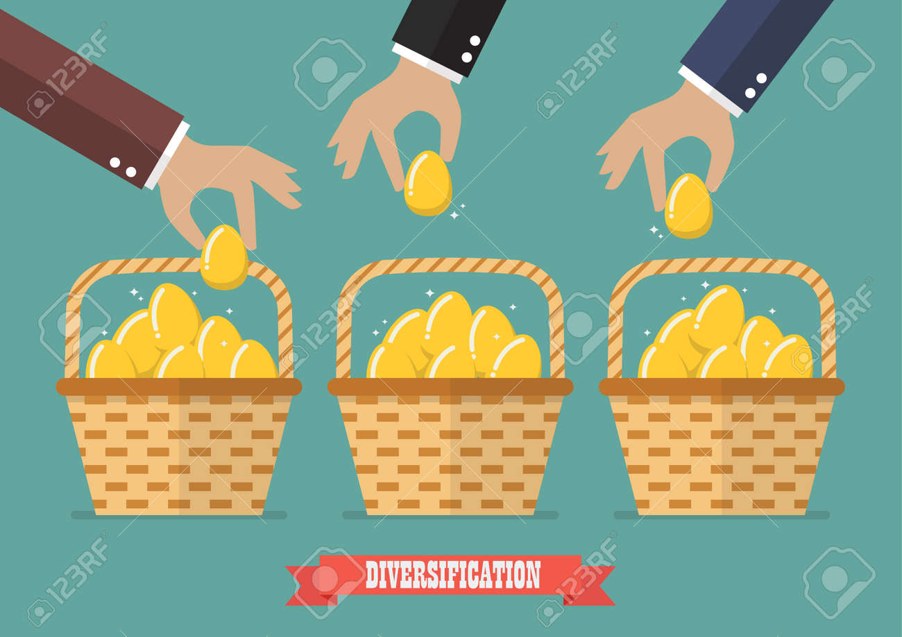 Allocating eggs into more than one basket. Business diversification concept - 57982086