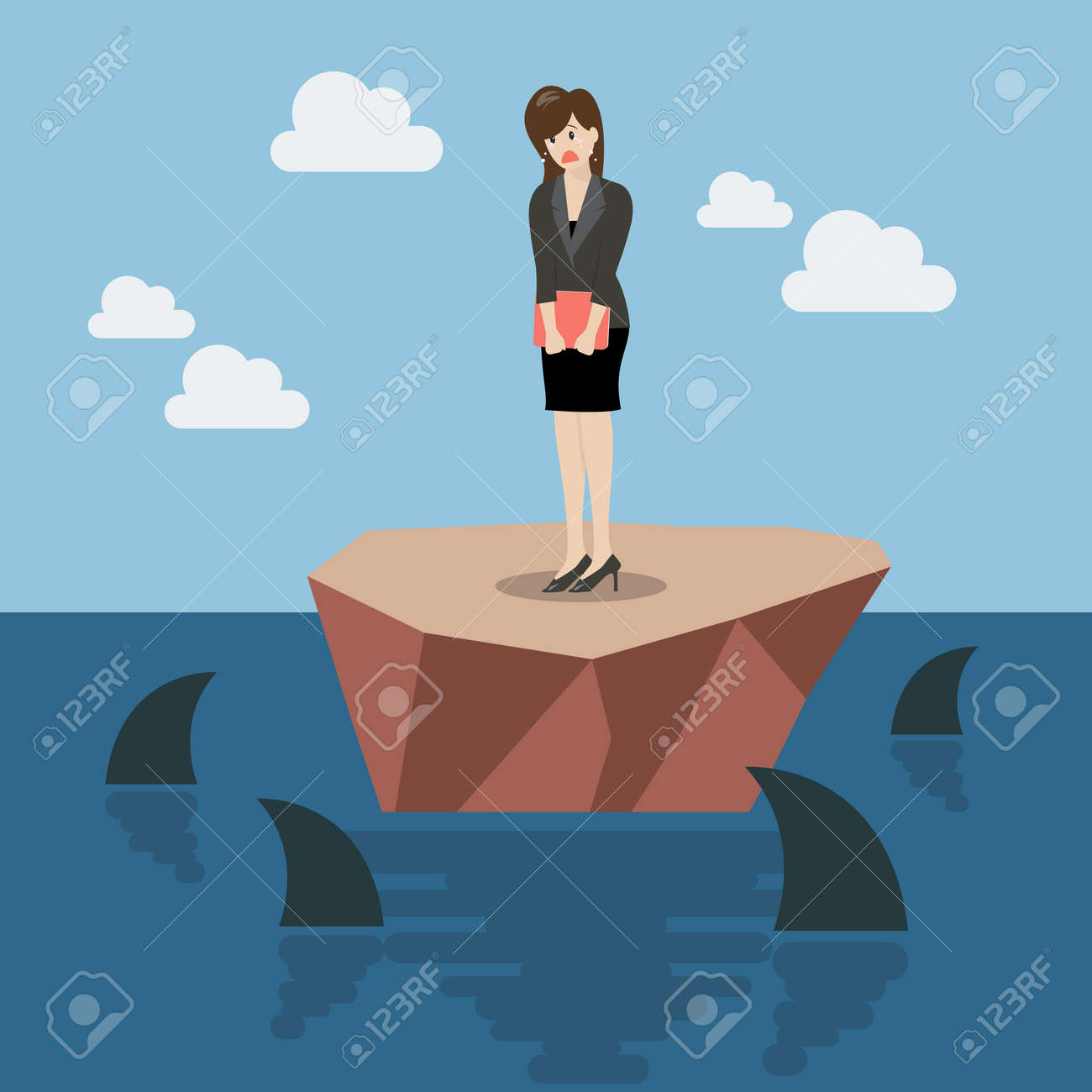 Helpless business woman on a small island which surrounded by sharks. Business concept - 60228818