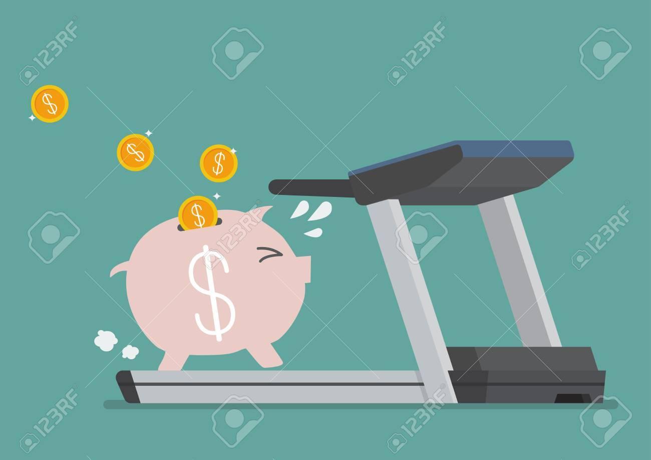Piggy bank running on a treadmill. Business concept - 60229049