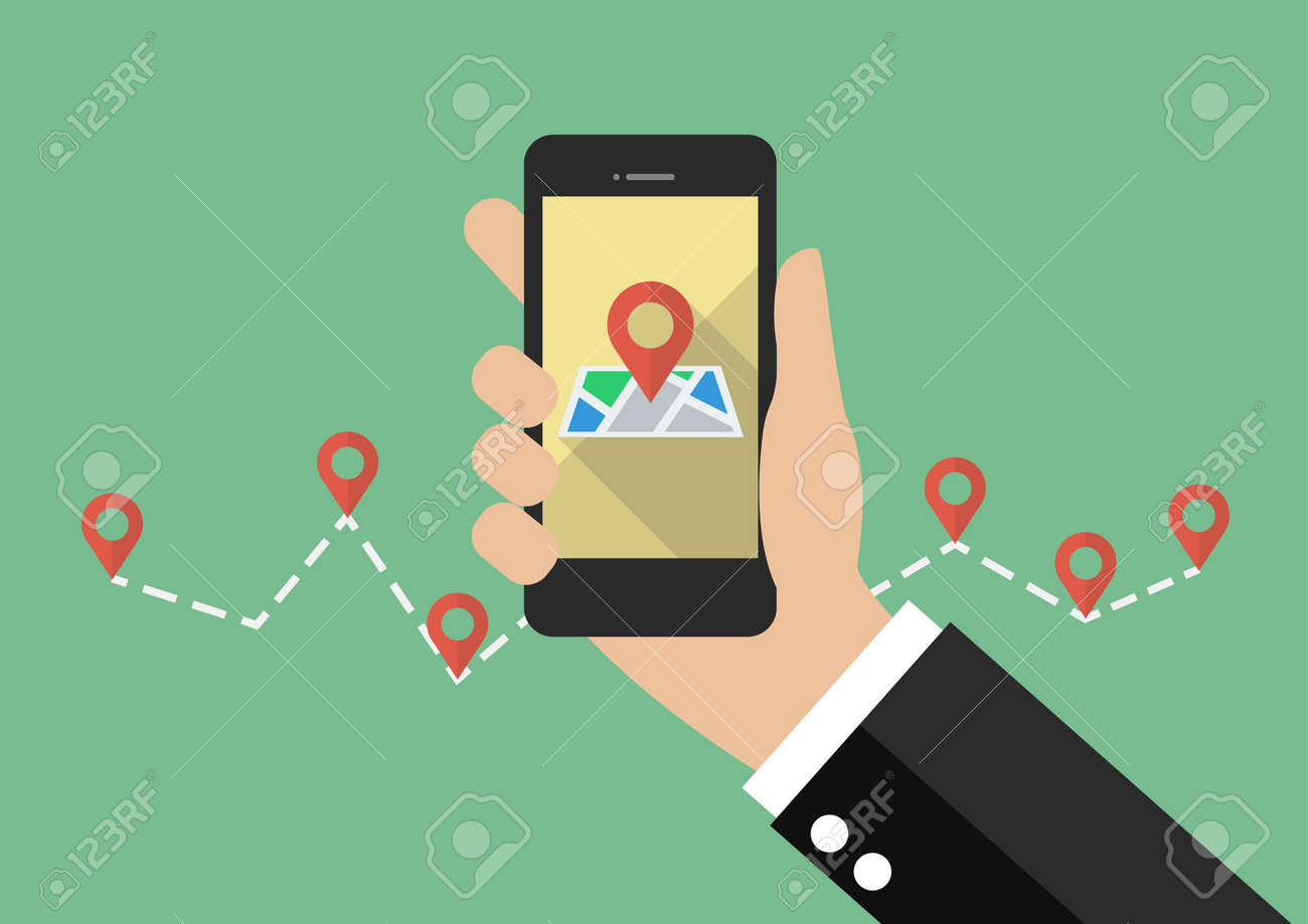 Hand holds smartphone with city map gps navigator. vector illustration - 61216883