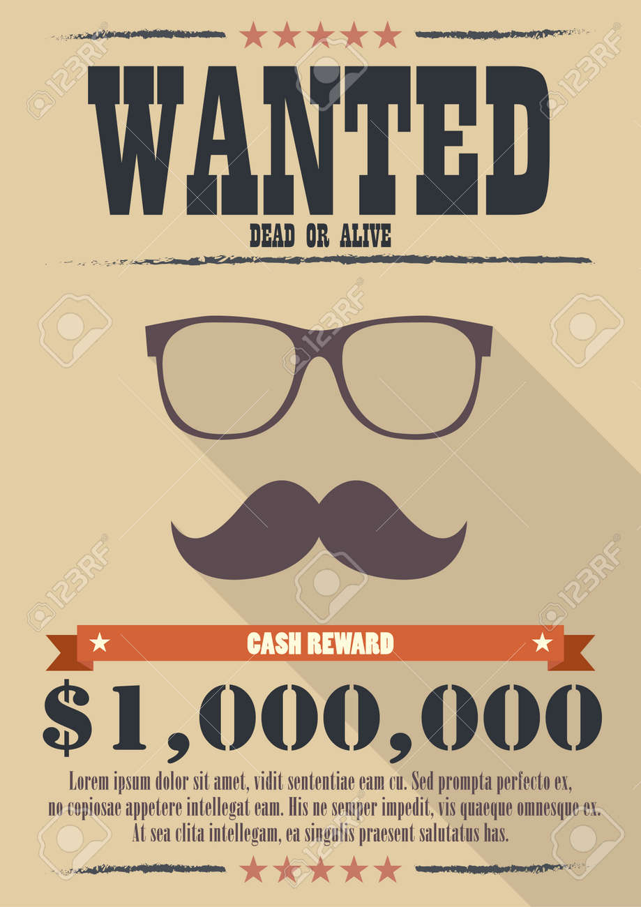 Most Wanted Man With Mustache And Glasses Poster. Western Style ...
