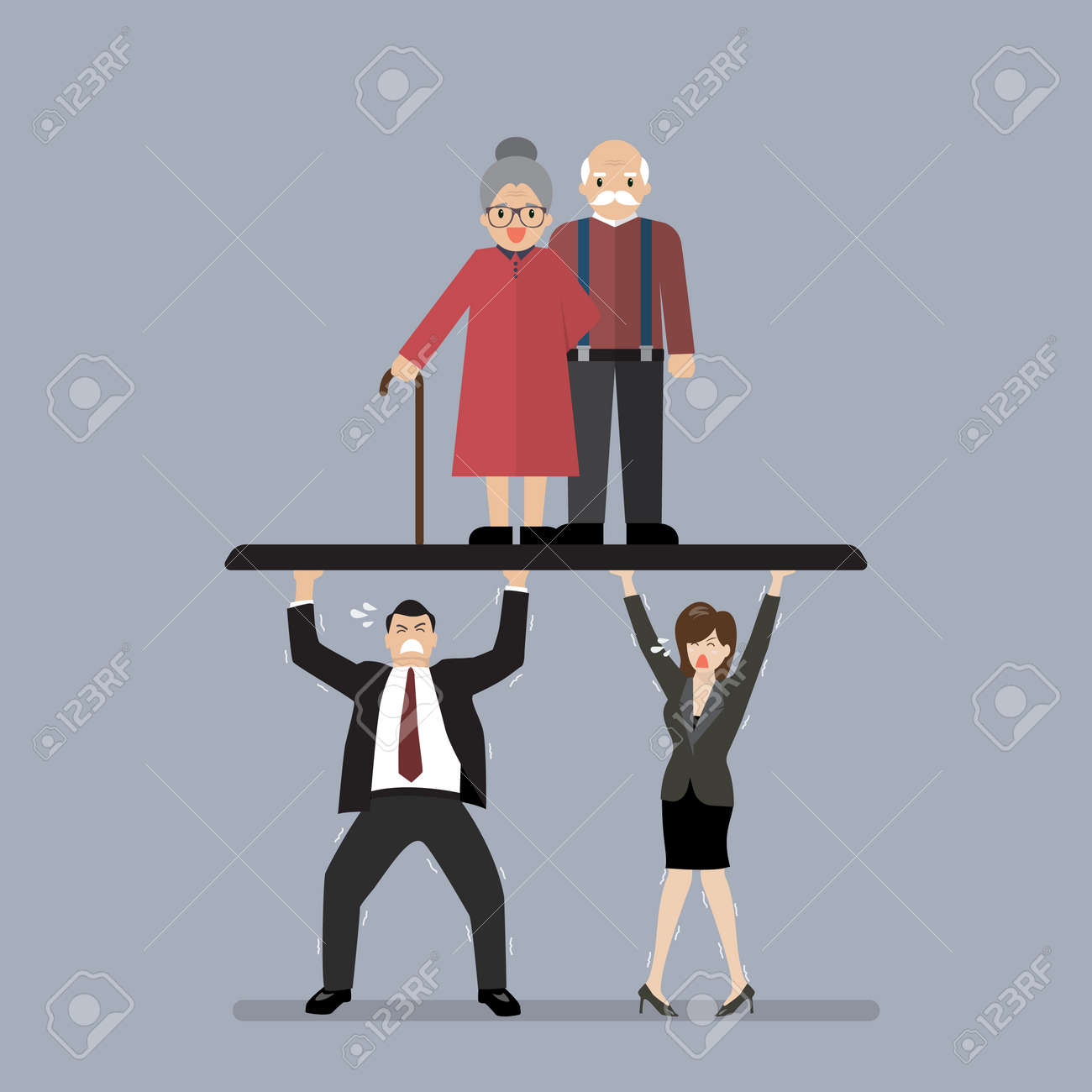 Workers carry Pensioners. Aging population problem - 66883147