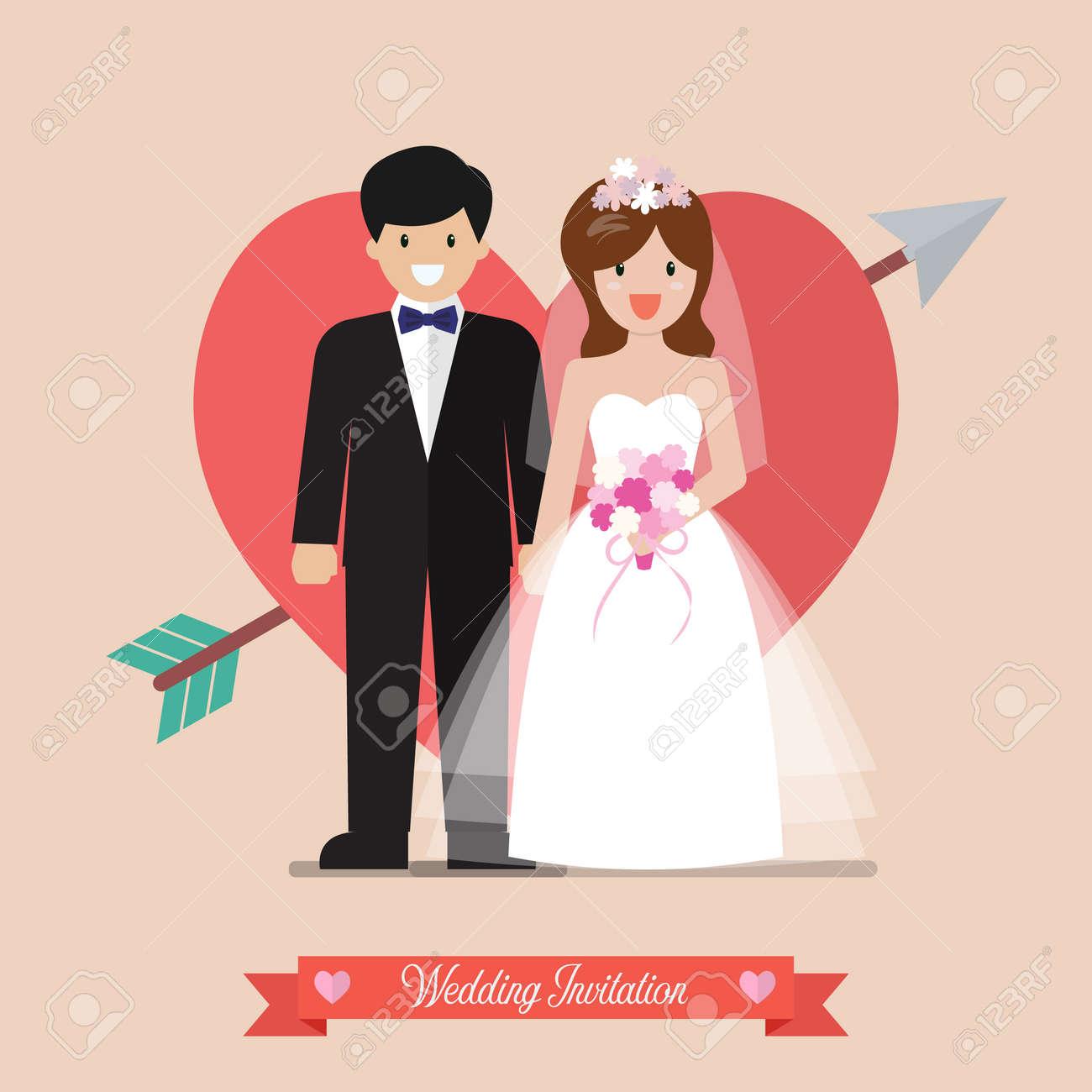 Newlyweds Bride And Groom Wedding Invitation. Vector Illustration ...