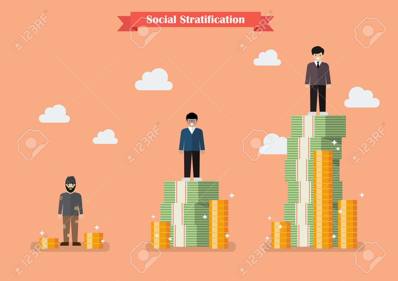 Social stratification with money. Vector illustration - 73347973