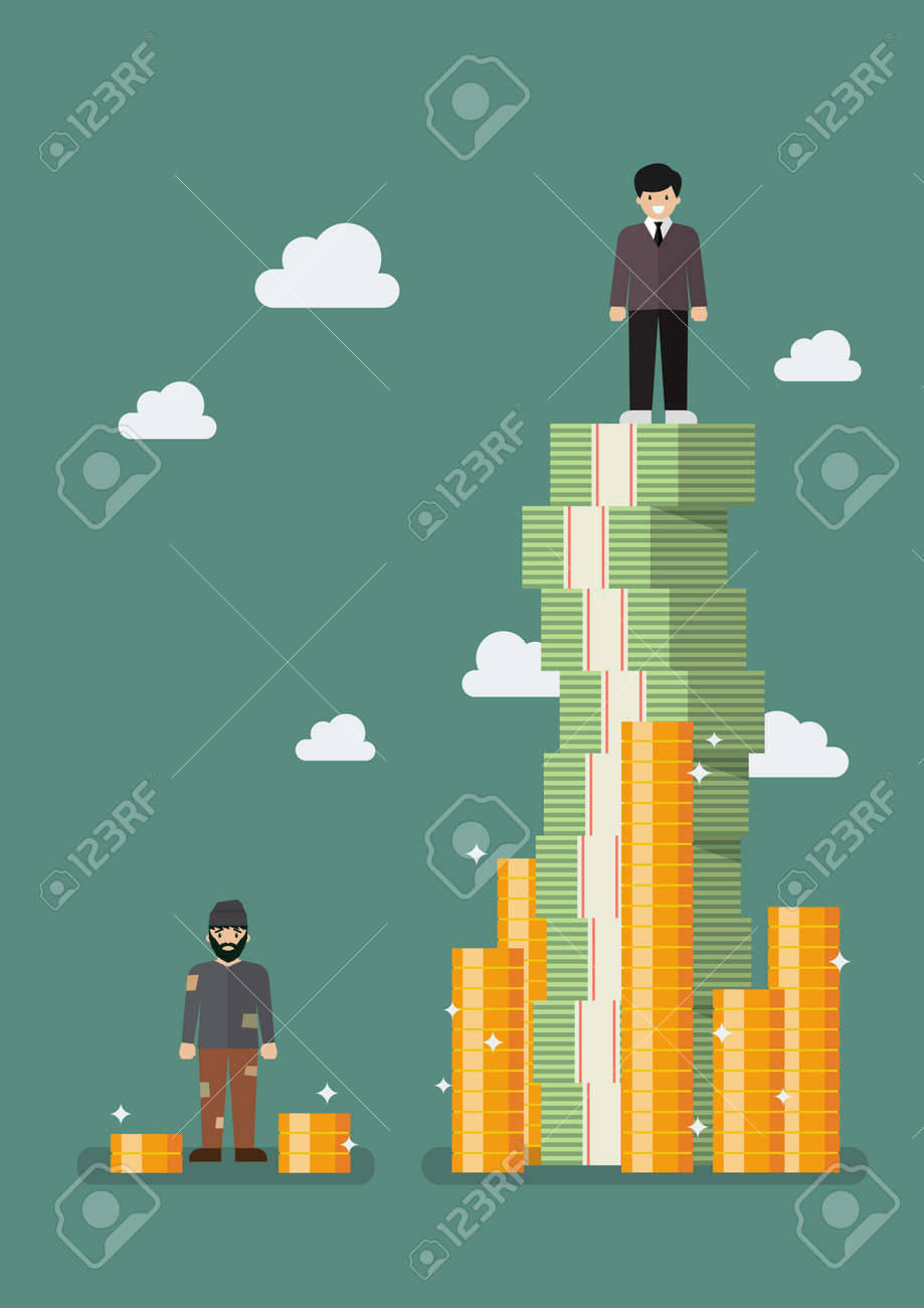 Gap between rich and poor. Vector illustration - 73427688