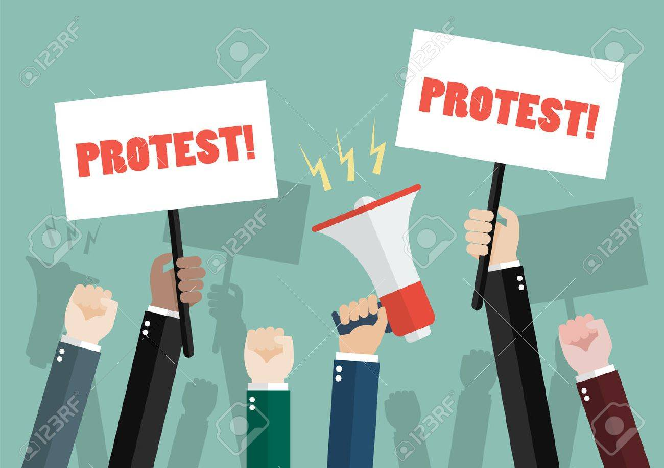 crowd of people protesters. Vector illustration - 74310935