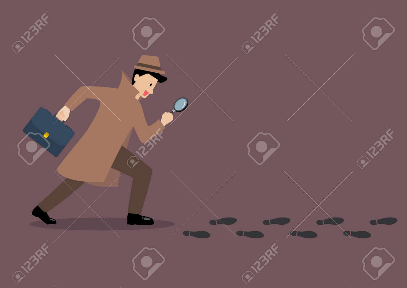 Detective investigate is following footprints with magnifying glass. Vector illustration - 79258143