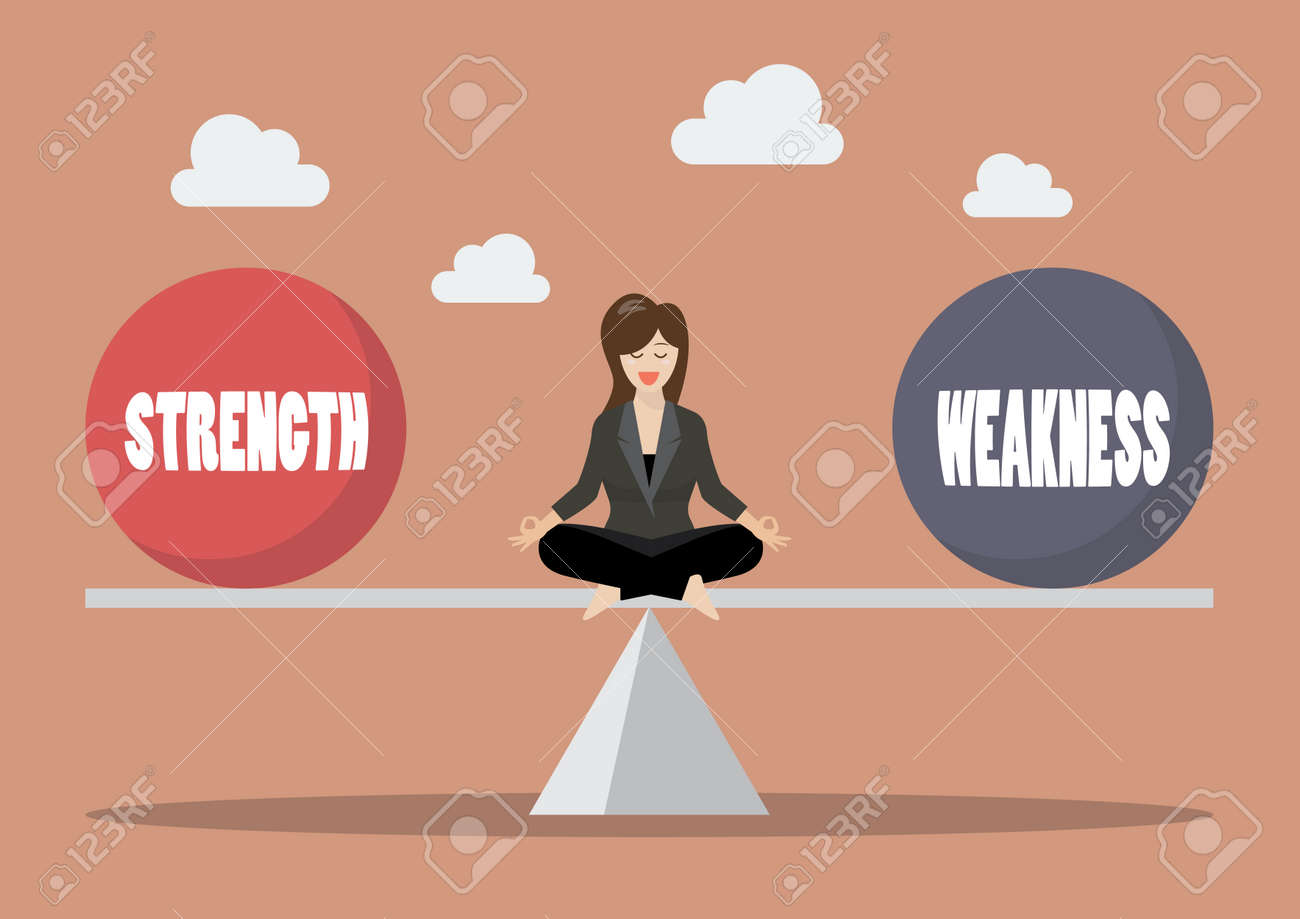 Business woman balancing between strength and weakness. Vector illustration - 80119482