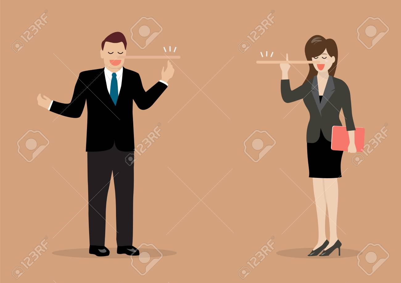 Lying businessman and woman with long nose. Vector Illustration - 80119511