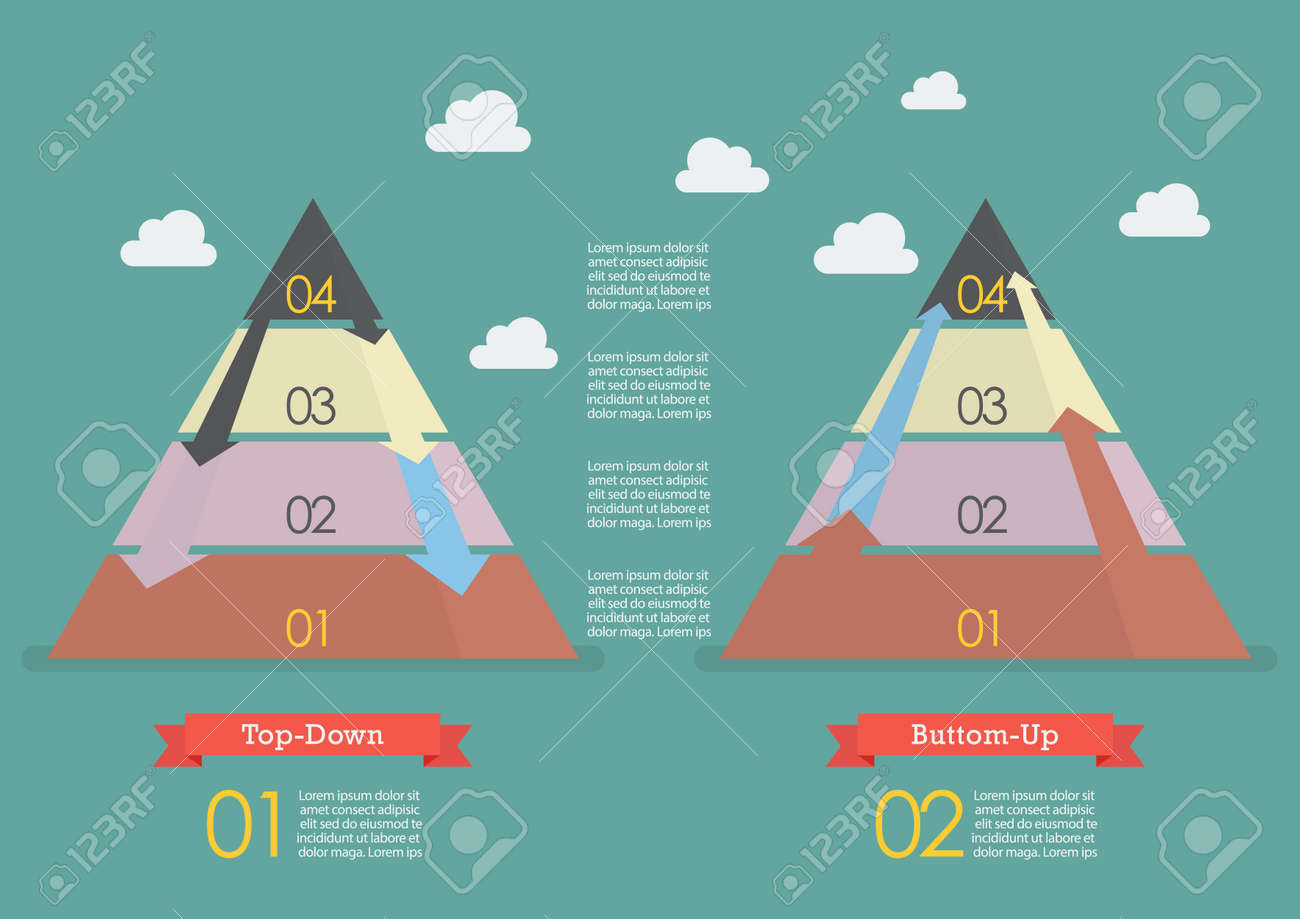 Top Down Bottom Up.Top Down And Bottom Up Pyramid Business Strategy Infographic